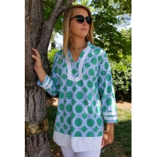 Erma's Closet Kelly Green and Blue Circle Tunic
